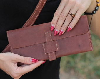 Leather clutch. Crazy Horse
