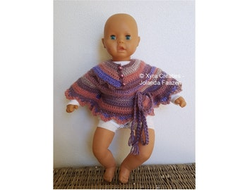 PATR1087 - Xyra Crochet-pattern - Round baby-poncho with openings for belt (Dutch & English-US)