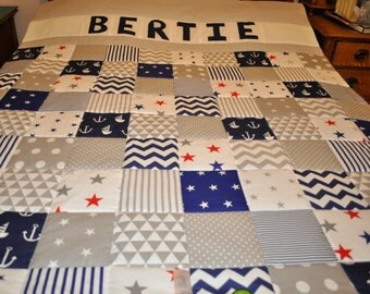 Personalised Single Bed Quilt, Navy & Grey Patchwork Quilt, Nautical Quilt, Handmade Childs Quilt, Patchwork Quilt, Handmade Patchwork Quilt