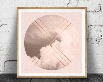Geometric Art, Cloud Photo, Blush Pink Wall Decor, Pastel, Faux Rose Gold Copper Foil, Moody Photography, Scandinavian, Modern Minimalist