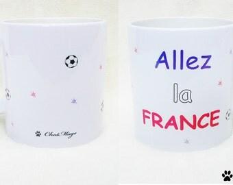 Mug, football mug, footballer, coffee mug, soccer ball mug, Allez la France, football mug, French team mug, supporter mug, ChatMage