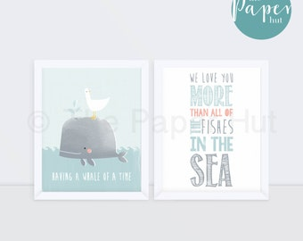 "Boy's Nursery | Children's Art Print Blue 8"" x 10"" Two Pack 