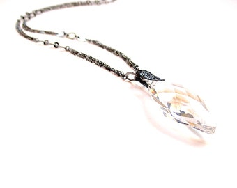 Huge Swarovski Crystal Hanging From A Three Strand Gunmetal Chain
