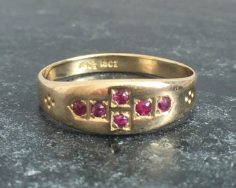 Antique Victorian 18ct Gold Ruby Stacking Ring