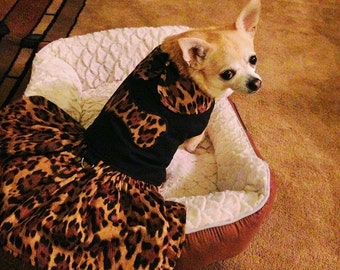 Leopard Print Dog Harness Dress Dog Bone Applique