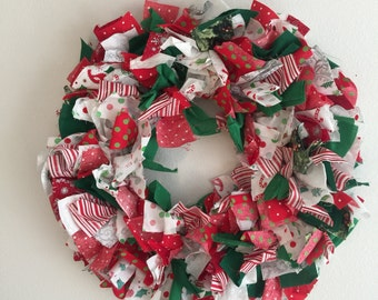 christmas fabric wreath / holiday wreath / red white green wreath / door wreath / christmas decor / 12 in christmas wreath / fabric wreath