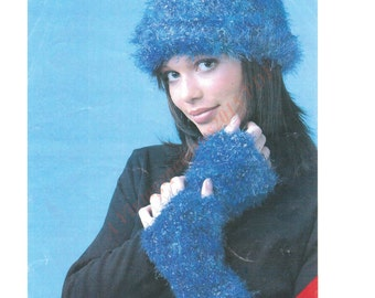 Ladies Fuzzy Hat And Mittens Knitting Pattern  PDF Download