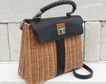 hermes kelly authentic handmade woven bag made from rattan with black PU leather modification smart looking elegant bag