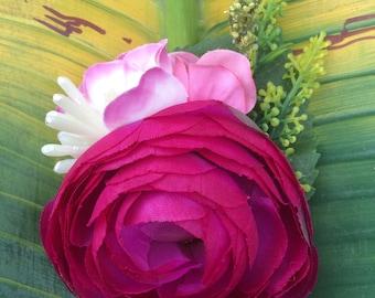 Delicate Magenta & Pink Flower Hair Clip