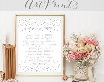 Don't Say Bride Game Printable, Take a Ring Game Printable, Silver Confetti Bridal Shower Game, Silver Bridal Shower Activity