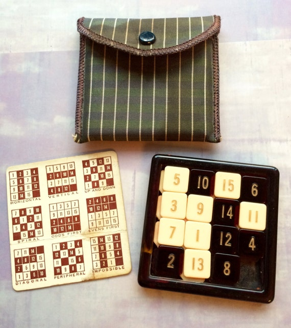 Rare Vintage 15 Puzzle Sliding Numbers Tile Game