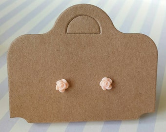 peach flower stud earrings