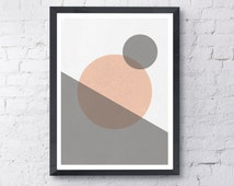Mid Century Modern Print - Instant Digital Download - A3 and A4 Size poster, Scandinavian print, Abstract Art,Geometric Wall Art, Home Decor