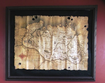 TES: Skyrim Collector's Map - Poster - Hand Made - Wall Art - Decor - Poster - Fantasy - Fan Art
