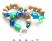 Sea Life Children Wood Bead Bracelet, Gods Creation, Gods Creatures, Under the Sea Party Favor, Kid Jewelry, Kid Bracelet, Boy Accessories