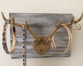Deer antlers jewelry holder