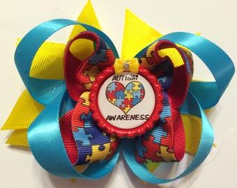 Autism Awareness Hair Bow