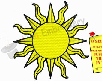 Sun Machine Embroidery Design,Happy Summer,filled stitch,machine patterns,8 sizes design, INSTANT DOWNLOAD