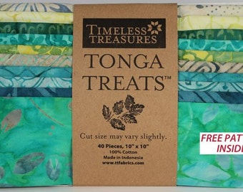 "Tonga Treat Pack-Batik Hand dyed Cotton Fabric 10"" Squares-Lagoon- Teals-Greens-Timeless Treasures"