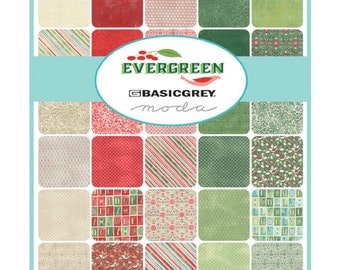 Layer Cake Fabric squares-Evergreen-Basic Grey-Moda-Holiday fabric-10 inch fabric squares