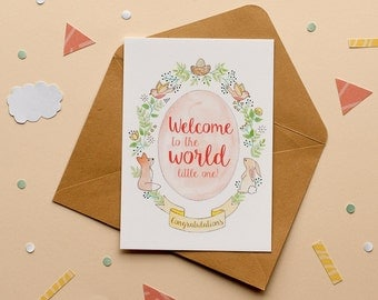 Welcome to the world little one - Congratulations - Print postcard
