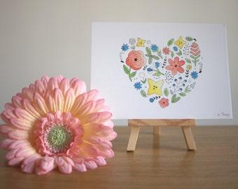 Flower Heart - Print Postcard
