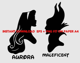 Maleficent and  Aurora, Clip Art,T shirt, iron on, sticker, Vectors files,couple clipart