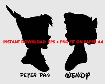 peter pan and wendy, Clip Art,T shirt, iron on, sticker, Vectors files,couple clipart