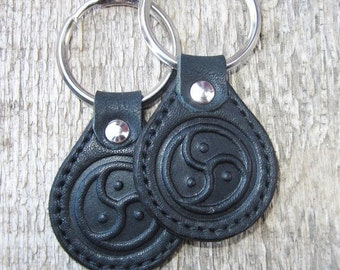 Keychain of genuine leather with embossed  «Triskele»