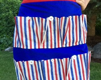 Red, White and Blue Egg Apron