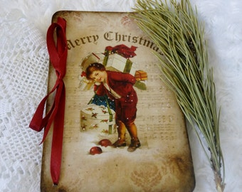Christmas gift Merry Christmas Wooden Christmas cards Vintage style card Handmade cards Victorian Christmas wood card Decoupage christmas