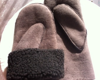 """Vintage Womens Mittens - Sheep Skin """"Style"""" Mitts - Brown Winter Mittens - Great Gift for Her"""