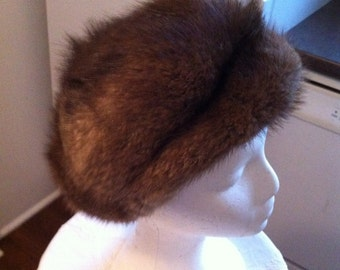 Vintage Muskrat Fur Hat - Womens Winter Hat - Beautiful Gift for Her