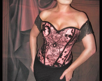 Pinup, Rockabilly, Punk, Goth - Spider / Skull Corset with Fringe sleeves