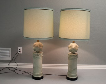 Pair of mid century table lamps w original shades