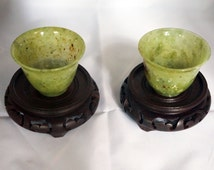 Qing dynasty-Pair of Antique Spinach Jade Cups