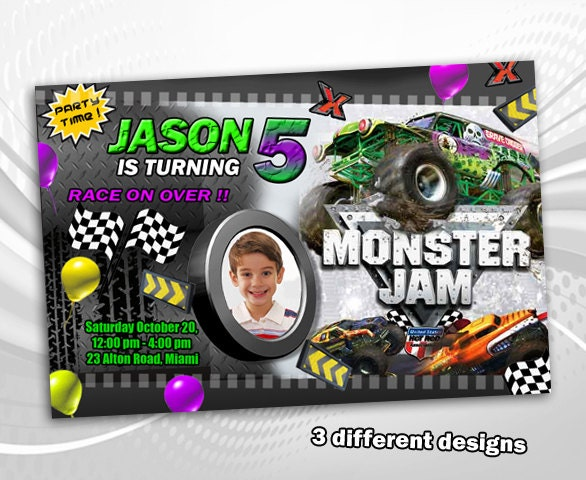 Monster Jam birthday invitation party invite card printable
