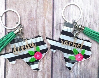 Personalized Striped Texas Keychain with Tassel, Custom Keychains, Texas Keychain, Personalized Keychain, State Keychain, Custom Texas Gift