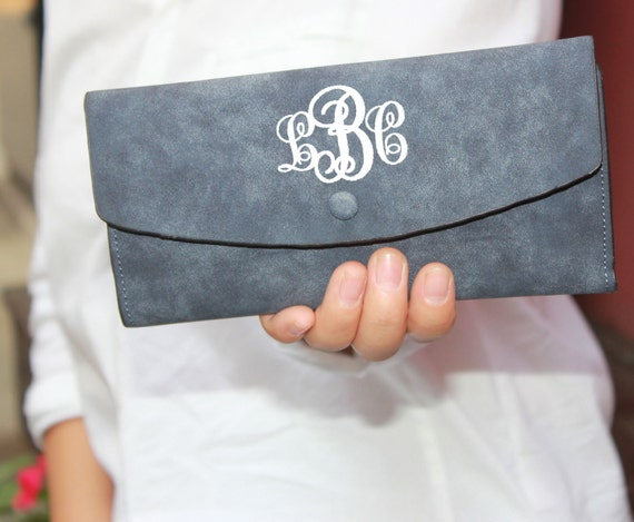 grey monogram wallet clutch