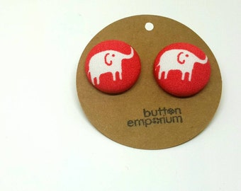 white elephant on red fabric button earrings