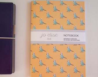 Budgie Print Pattern Notebook A5 recycled paper