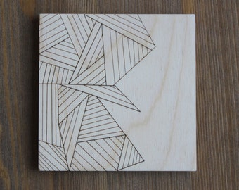 Geometric Triangluar Lines Square Coaster