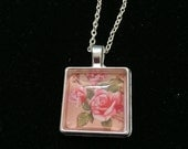 Square Pendant Tray with Pink Roses