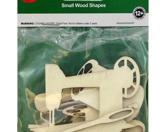 8 Pack Sewing Notions Assorted Wood Shapes by Lara's Crafts
