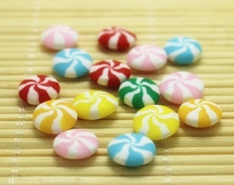 Mixed Swirl Candy Cabochons - 10 Pieces - Polymer Clay Kawaii Decoden Flatback Assorted, DIY Jewelry, Phone