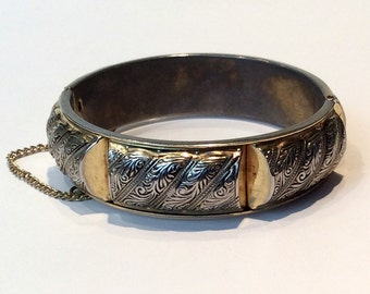 Bangle with Chain in Gold and Silver Tones