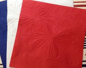 Fireworks Napkins ~ Embossed Paper Napkins ~ Fireworks ~ Fourth of July ~ Celebration ~ Picnic ~ Beverage ~ Luncheon ~ Napkin