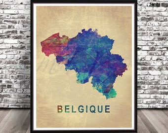 Vintage Belgium country map watercolor painting city print art watercolour travel skyline cityscape Belgian Belgique Nation Brussels Blue