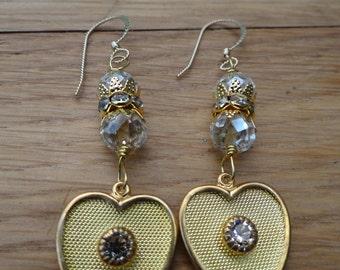 Vintage Brass Clear Swarovski Crystal Rhinestone Heart - ERU055