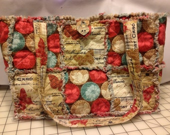 Brown Blue Pink Quilted Rag Purse